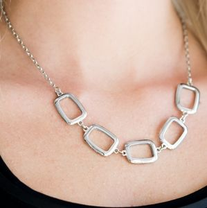 Paparazzi Gorgeously Geometric Silver Necklace Set